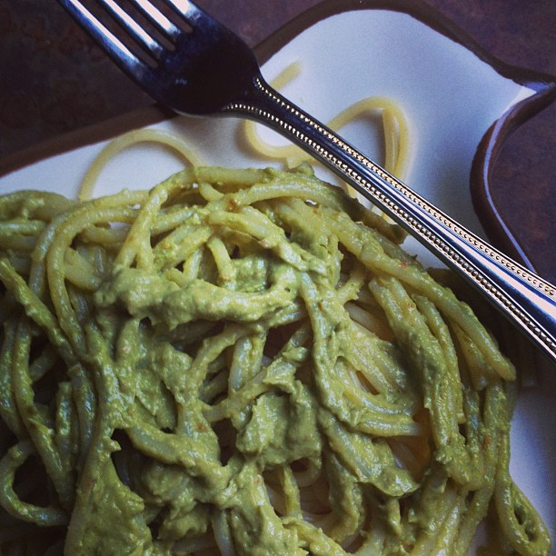 Post image for Avocado Pesto … for pasta, for veggies, for eating off a giant spoon.