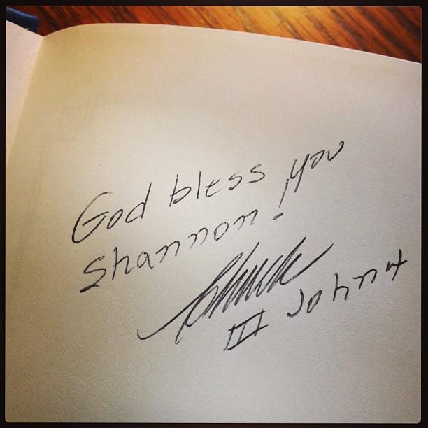 Pastor Chuck's autograph