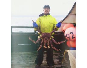Zac catching crab in the Bering Sea